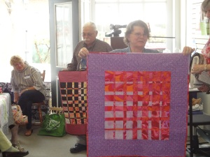 Colorful quilt!  (Fred is in the background.)