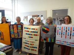 These challenge quilts are headed to the Maine Quilt Show with Janet Clement. Her challenge quilt and Cindy Visbaras' is not pictured.