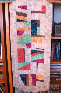 After a class on Improvisational Quilting, Lizzy went ahead and designed her own table runner. We miss you, Lizzy! (who is now in Florida 'til spring).