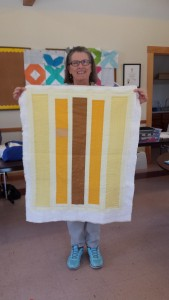 "Bonnie, who is doing a lot of trunk shows, made a small version of ""Mustard"" originally designed by Alyssa Haight Carlton."