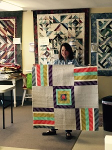 Kathryn Simel's own modern design. Look at the colors and VERY straight line quilting!
