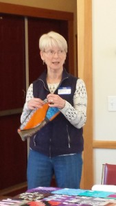 Sue Arnold showed a zippered bag, lined, with inside pockets, that she made from the Improv class we had on April 18th, taught by Bonnie Dwyer.