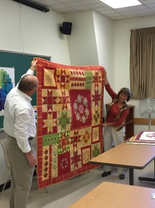 Lisa showing her beautiful quilting