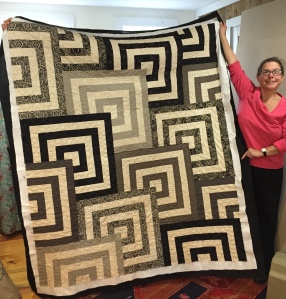 Stephanie made this beautiful quilt and Betsy did an outstanding job of quilting for her
