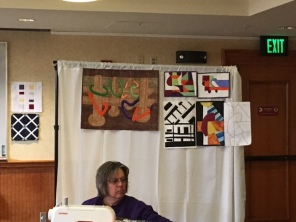 Jane provided instruction and education on doing a landscape and and abstract quilt.